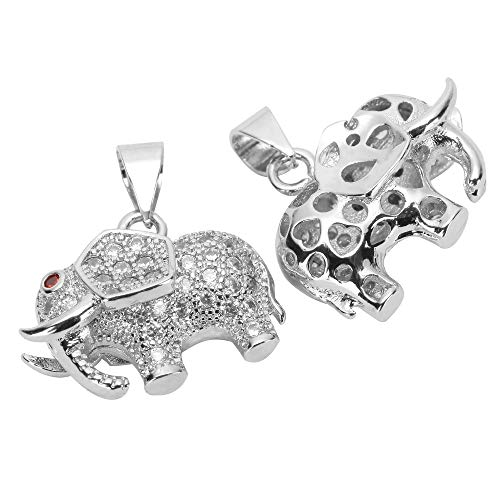 2pcs Top Quality Silver Cute 3D Elephant Charm Pendant Simulated Diamond Pendant MCAC15