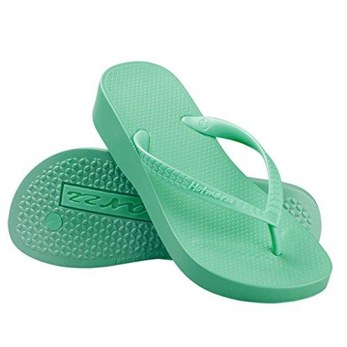 Hotmarzz Chanclas para Mujer Zuecos Sandalias Plataforma Cu?a de Verano Playa Verde
