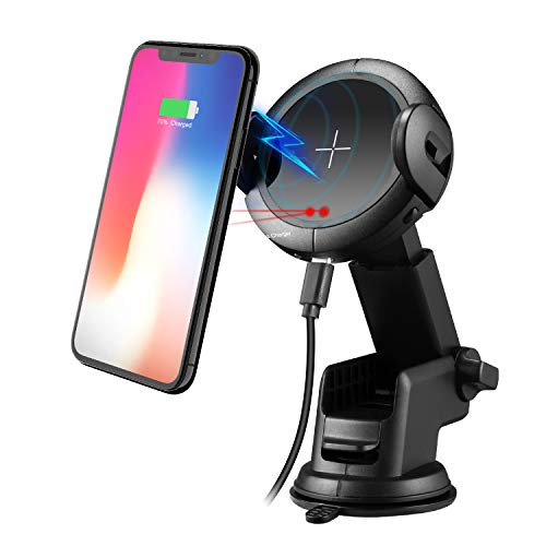 Wireless Car Charger- One-Touch Automatic Wireless Charger - Qi Car Charger HolderWireless Compatible iPhone x 8/8Plus Samsung GalaxyS8/S9/Note.Infrared Motion Sensor Automatic Open Clamp Safe Driving