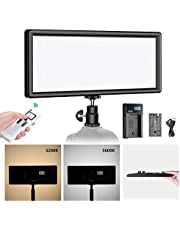Neewer Super Slim 2.4G T120 on Camera LED Video Light Bi-color 3200-5600K Dimmable with LCD Display, Li-ion Battery and USB Charger, Softer LED Lighting for Portrait Children Product Photography Video