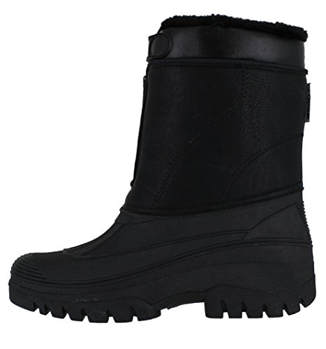 Wellies Black Stable Winter up Snow Zip LS88 Boots Groundwork Yard Womens Faux Mucker Leather qwnxnvPRf