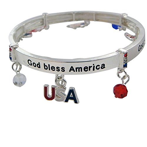 Patriotic Themed Costume Ideas (Rosemarie Collections Women's USA Red White Blue Stretch Charm Bangle Bracelet)