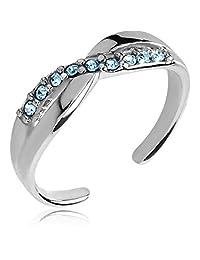 2heart 0.7 Cts Round Sim Diamond & Blue Gemstones Adjustable Toe Ring 14K White Gold Fn