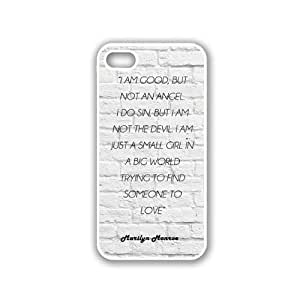 Marilyn Monroe Quote - I Am Good, But Not An Angel White Bricks iPhone 5 White Case - For iPhone 5/5G White - Designer TPU Case Verizon AT&T Sprint