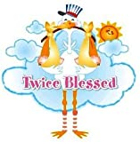 Twice Blessed Twin Babies Stork ~ Edible Cake, Cupcake Topper!!!