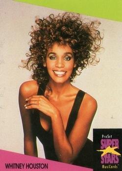 Whitney Houston trading card (Singer, Actress, Model) 1991 Proset Super Stars Musicards UK #61 from Autograph Warehouse