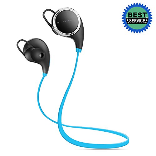 Anbso Wireless Bluetooth Headphones V4.1 Sport Stereo In-Ear Headsets, Noise Cancelling Sweatproof Earphones Earbuds with Mic for Apple Android Phones and Bluetooth-enabled Tablets (Blue)