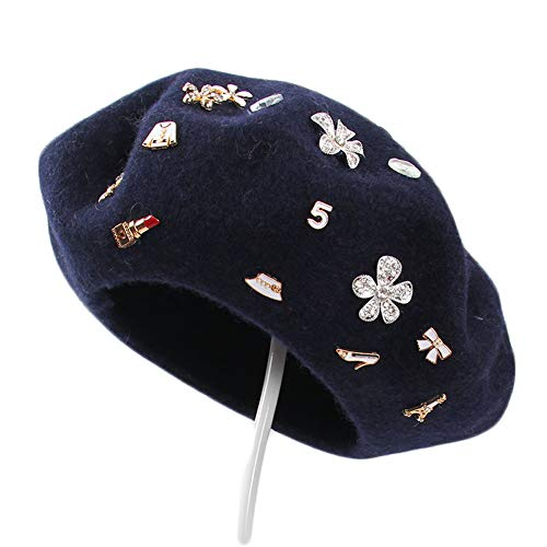 ChenXi Store Flower Wool French Beret Hats Ladies Winter Caps
