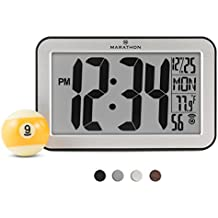 MARATHON CL030033SV Panoramic Atomic Self-setting Self-adjusting Wall Clock w/ Stand & 8 Timezones - Brushed Silver - Batteries Included