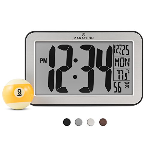MARATHON CL030033SV Panoramic Atomic Self-setting Self-adjusting Wall Clock w/ Stand & 8 Timezones - Brushed Silver - Batteries - Frames 2016 Glasses