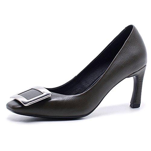 Nio Sju Äkta Läder Womens Fyrkantig Tå Stilett Häl Affärer Handgjorda Eleganta Damer Pumpar Skor Armén Grönt