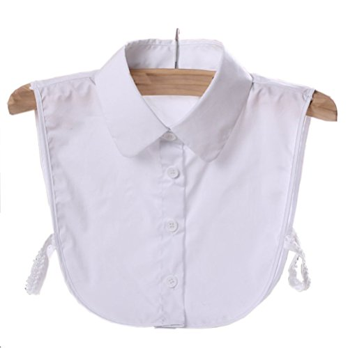 Women's Fake Collar Detachable Dickey Collar Blouse Half Shirts False Collar, White