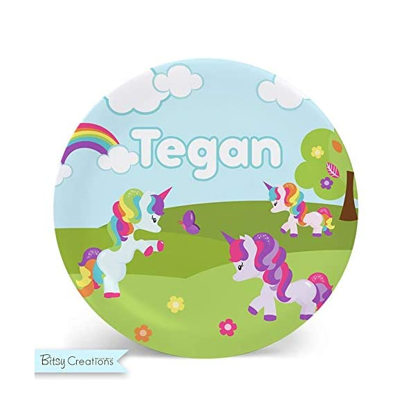 Rainbow Unicorn Plate - Personalized Plate for Kids 3