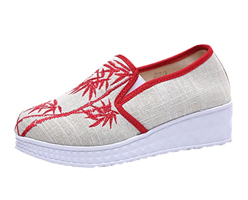 Main Fait Fluer Compens Chaussures Broderie Femmes Bateau Icegrey OPw4qWRfzx