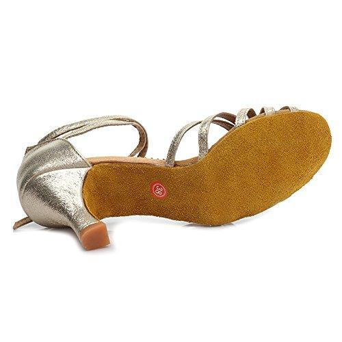 HROYL Mujer Zapatos de Baile Latino Cuero Salón de Baile 1810-6 Gold1