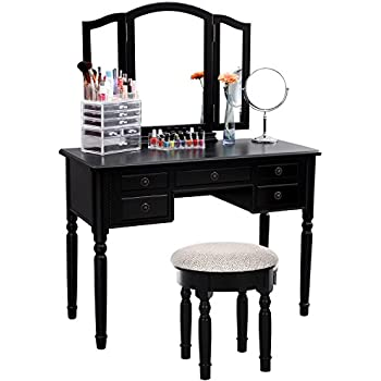SONGMICS Vanity Set Tri Folding Mirror Make Up Dressing Table Cushioned  Stool 5 Drawers