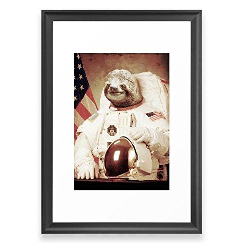 Society6 Sloth Astronaut Framed Print Scoop Black SMALL (Astronaut Framed)