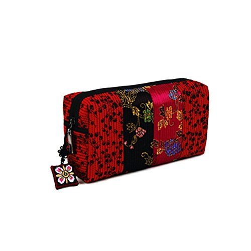 YeGa Korean Quilting Brocade Cosmetic Bag Makeup Toiletry Organizer Case (Brick)