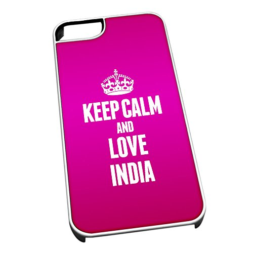 Bianco cover per iPhone 5/5S 2209 Pink Keep Calm and Love India