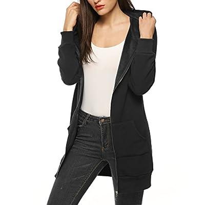 Zeagoo Women Casual Zip Up Fleece Hoodies Tunic Sweatshirt Long Hoodie Jacket: Clothing