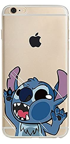 iPhone 6s Plus case, Geekmart Clear Soft TPU Cartoon Design Cover Case 5.5 inch (Stitch) (Stitch Cell Phone Case)