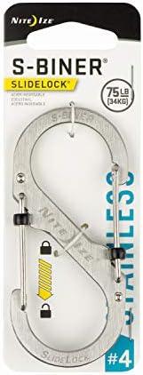 NITE IZE LSB4-11-R3 Dual Locking Carabiner, Size #4, Stainless
