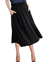 Women's Rayon Spandex High Waist Shirring Flared Pocket Skirt