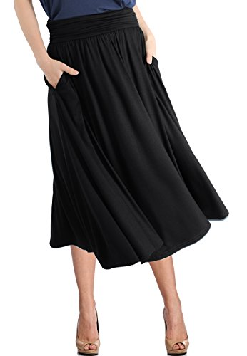 TRENDY UNITED Women's Rayon Spandex High Waist Shirring Flared Pocket Skirt (S0030-BLK, L)
