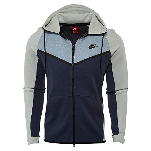 Nike Mens Tech Fleece Hooded Windrunner Glacier Grey/Light Bone/Black 885904-023 Size Medium by NIKE