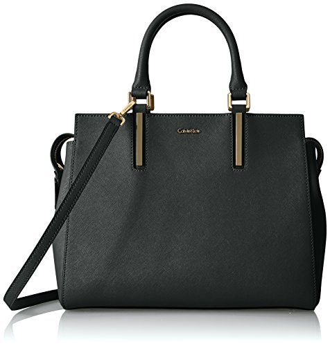 Calvin Klein Saffiano Top Zip Medium Satchel, Black/Gold by Calvin Klein