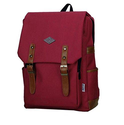 Vintage Unisex lona ocasional mochila mochila mochila mochila bolsa de senderismo Rojo de vino