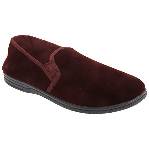 Ross Wine Slippers Gusset Zedzzz Twin Mens Velour FPqwR