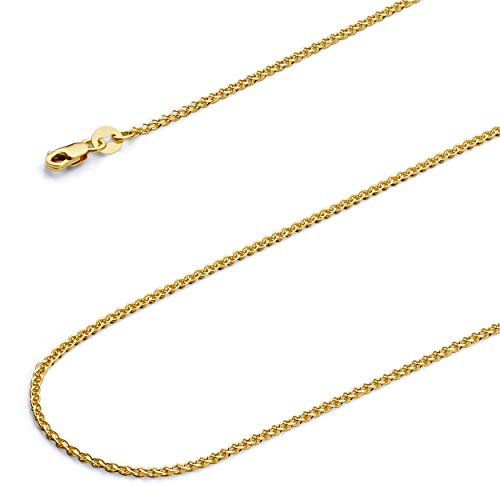 - Wellingsale 14k Yellow Gold SOLID 1.5mm Polished Flat Open wheat Chain Necklace with Lobster Claw Clasp - 22