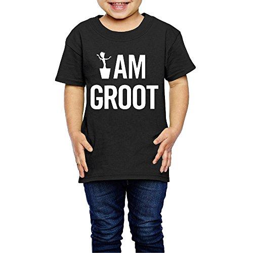 I Am Groot Tree Demon Tween Groot Crew Neck T-Shirts Black 5-6 Toddler For Children Age (Child Rocket Raccoon Gloves)