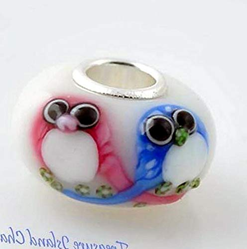 (Lot of 1 Pc. OWL Birds LAMPWORK Murano Glass .925 Sterling Silver European Bead Charm Vintage Crafting Pendant Jewelry Making Supplies - DIY for Necklace Bracelet Accessories by CharmingSS)