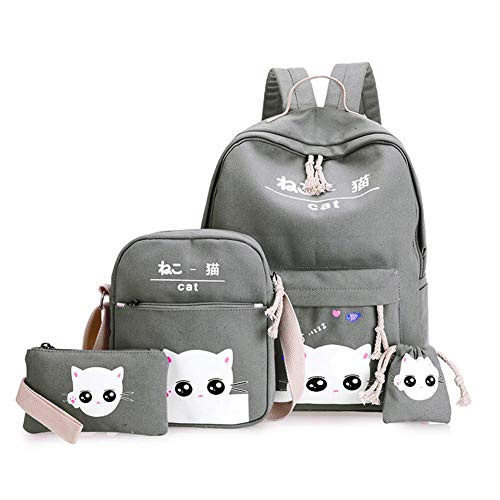 Cartoon Girl Lovely Pencil Grey Wildlead Lady School Pcs Case Cat Printed Bag Backpack 4 Shoulder set Light Women Bags Canvas Korean Fashion 8qTxzwC8