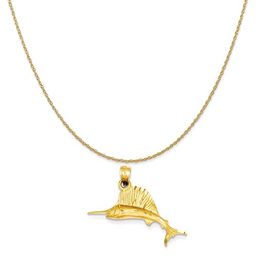old Sailfish Pendant on a 14K Yellow Gold Rope Chain Necklace, 18
