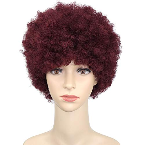 Beauty : Naseily Short Burgundy Curly Wigs For Black Women Short Afro Kinky Curly Synthetic Wigs for Black Women African American Women Wigs