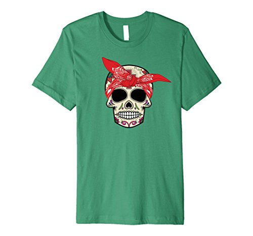 Hear No Evil Speak No Evil See No Evil Costumes (Mens Hear No Evil Sugar Skull T-Shirt Halloween Day Of The Dead XL Kelly Green)