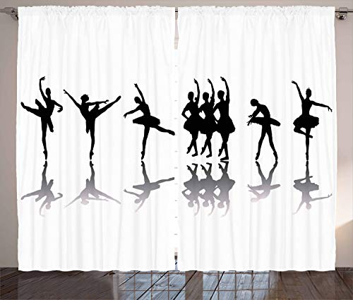 Ambesonne Ballet Curtains, Ballerinas on Stage Concert Dance Sugar Plum Fairy Theatrical Artistic, Living Room Bedroom Window Drapes 2 Panel Set, 108 W X 90 L Inches, Black Pale Grey White (Drapes Sugar Window Plum)