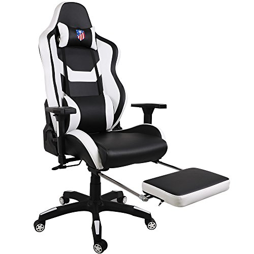 Cheap Kinsal Ergonomic High-back Large Size Gaming Chair, Office Desk Chair Swivel White PC Gaming Chair with Extra Soft Headrest, Lumbar Support and Retractible Footrest (White)