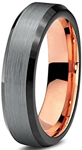 Tungsteno Anillo 4 mm para las mujeres de los hombres de negro y 14 K oro rosa escalonada borde pulido y garantía de por vida