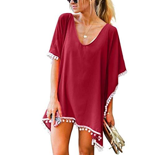 cobcob Women 's Cover Up Loose,Ladies Summer Kaftan Chiffon Tassels Solid Casual Swimwear Beachwear