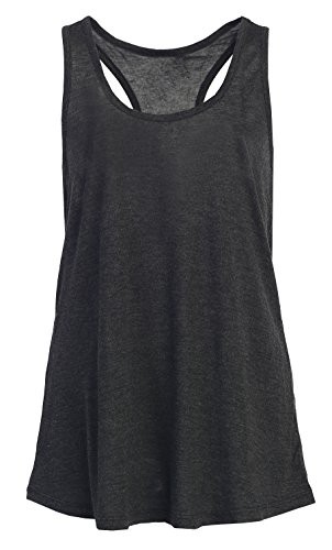 Women Cool Relaxed Loose Fit Rayon Knit Racerback Sports Tank Tops Charcoal L (Workout Racerback Tank compare prices)
