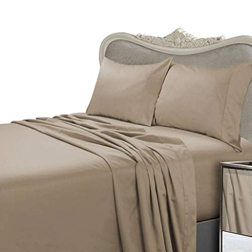 Luxurious TAUPE Solid / Plain, KING Size, 300 Thread Count Ultra Soft Single-Ply 100% Egyptian Cotton 4 Piece Bed Sheet Set (Extra Deep Pocket) - includes 300TC Flat, Fitted Sheet and 2 Pillow Cases ()