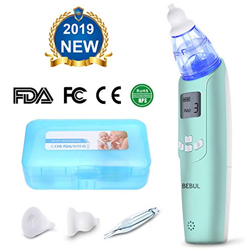 Nasal Aspirator - BEBUL Baby Nasal Aspirator Electric Nose Cleaner with 3 Suction Levels, LCD Screen, Flashlight and Music, Battery Operated Nose Suction Aspirator for Infant & Toddler(Light Green)