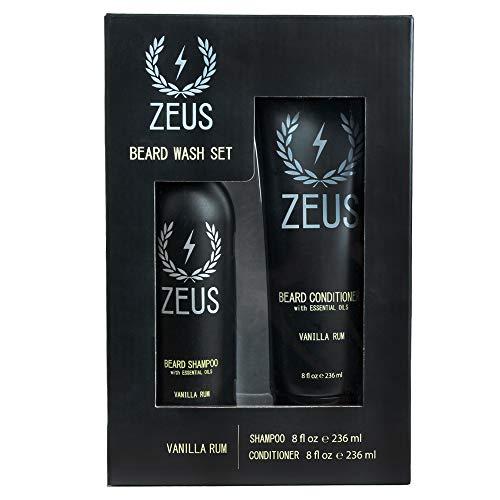 ZEUS Beard Shampoo and Beard Conditioner Set for Men - (8 oz. Bottles) (Scent: Vanilla Rum)