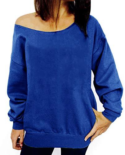 (lymanchi Women Wifey Long Sleeve Sweatshirt Off Shoulder Letter Print Loose Tops 107 Blue)