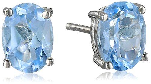 Sterling Silver Oval Blue Topaz Earrings