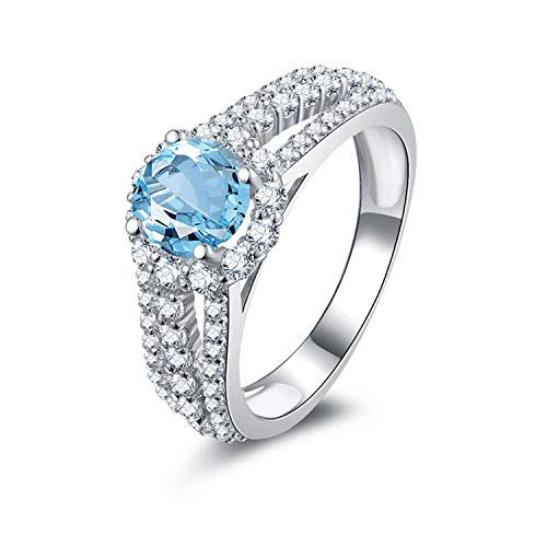 Aokarry - S925 Silver Sterling Womens Ring of Promise Blue Created-Topaz December Birthstone Size 5.5